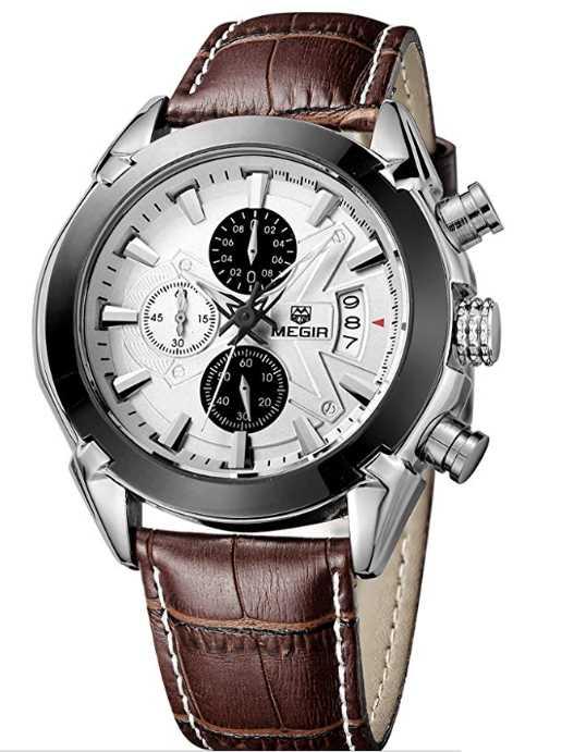 Megir Mens Sport Leather Watch